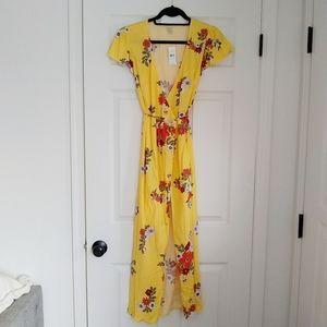 LOFT Beach Wrap Maxi Dress Yellow Floral